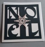 Noel with snowflake 6in square Christmas Card