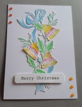 Christmas Bells Merry Christmas 7x5in white card