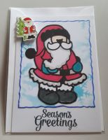 Season's Greetings - Santa with mini Santa A6 white card