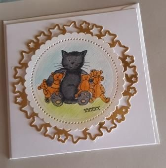 Cute Kitty with teddy bears 6in white card