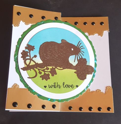 GC 2019 - Love and Friendship - Dormouse on branch hand coloured Zfold card