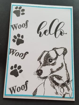 GC 2019 - Hello - Jack Russell Woof Woof black n white A6 card - RE, ANstam