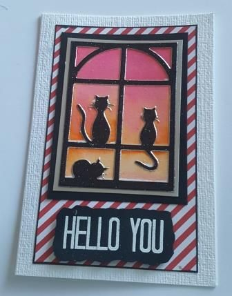 GC 2019 - Hello - Hello You cats at window with hand painted bg C6 white li