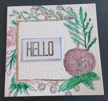 GC 2019 - Hello - Flower frame with Hello sentiment in centre 4in white lin