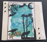 Spooky... Halloween card with animals in silhouette on hand painted background