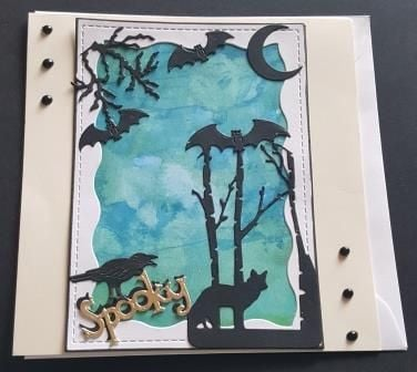 Spooky... Halloween card with animals in silhouette on hand painted backgro