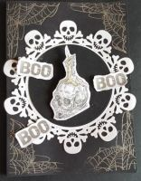 Boo Boo skulls, spiders webs 7x5in black card with envelope