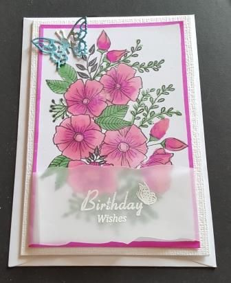 GC 2019 - Birthdays - Floral spray with Birthday wishes sentiment on vellum
