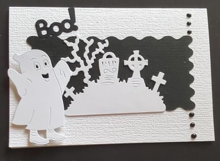 GC 2019 - Halloween - Boo... Ghost and churchyard black and white C6 card -
