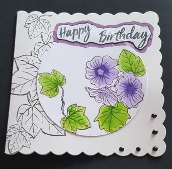 GC 2019 - Birthdays - Happy Birthday ivy and flowers square scalloped card