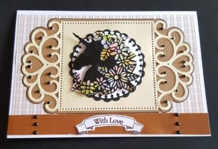 GC 2019 - Love and Friendship - Unicorn in silhouette on ornate frame and c
