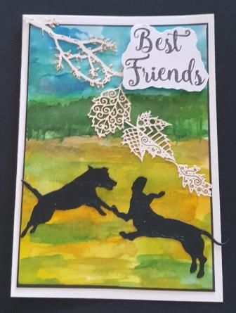 GC 2019 - Love and Friendship - 2 dogs having fun on hand painted backgroun
