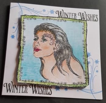 Winter Wishes woman's head hand coloured square card