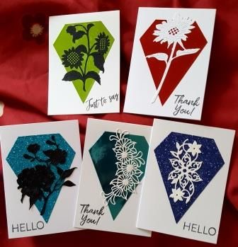 GC 2019 sets - Hello and Thank you set of 5 A6 cards - with diamond bg and