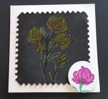 GC 2019 - Blank no message - Flower spray hand coloured with pencil on blac