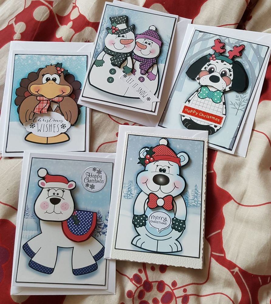 Set 1 of 5 cute C6 Christmas cards