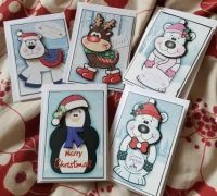 Set 2 of 5 cute C6 Christmas cards