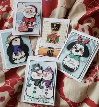 Set 4 of 5 cute C6 Christmas cards