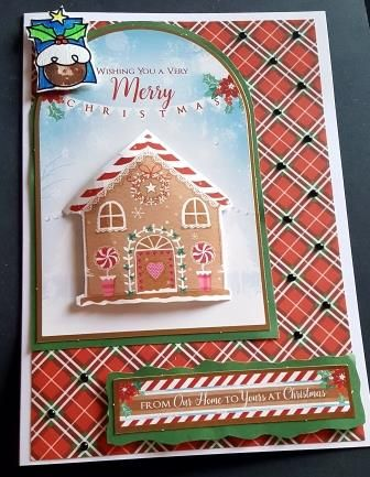 GC 2019 - Christmas - Gingerbread House on red tartan bg from Our Home to y