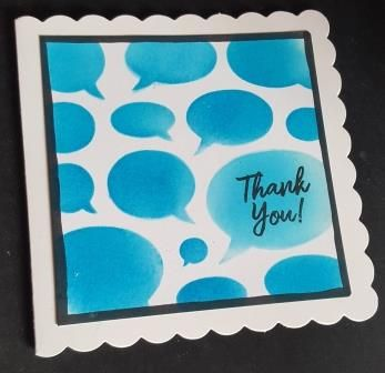 GC 2019 - Thank you - Thank you in speech bubble 6in scalloped edged card -