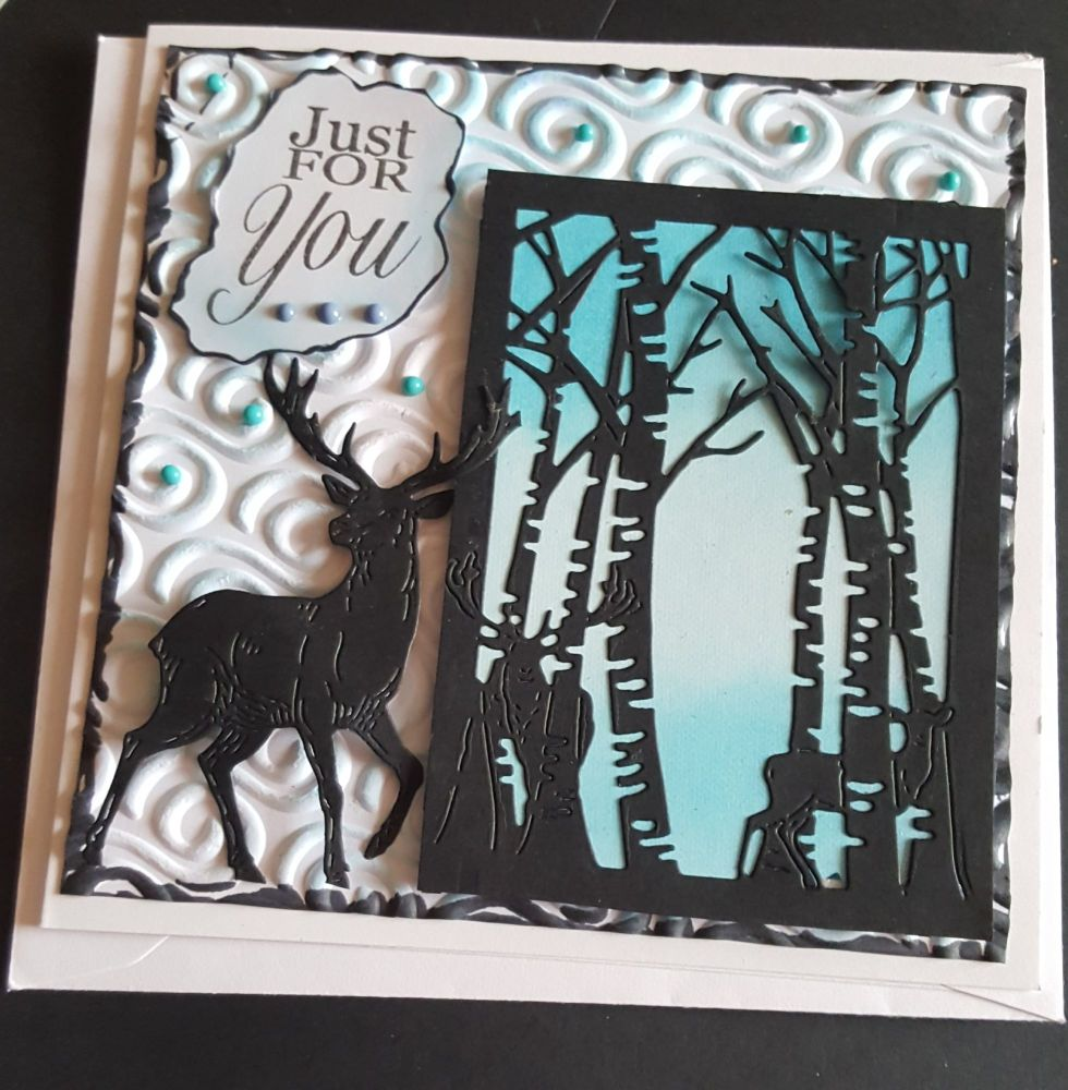 GC 2019 - Just for you - Deer in forest silhouette with swirl embossed bg 6