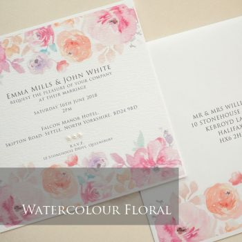Watercolour Floral Invitation Pack (£1.75 per Invitation)