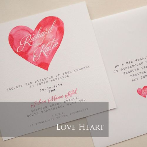 Love Heart Invitation Pack (£1.75 per Invitation)