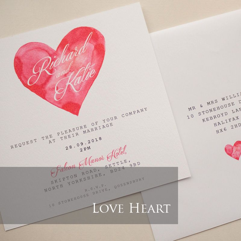 Love Heart Invitation Pack (£1.75 per Invitation)