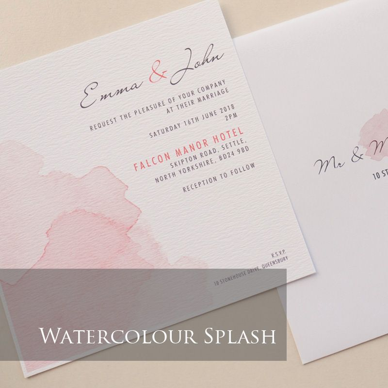 Watercolour Splash Invitation Pack (£1.75 per Invitation)