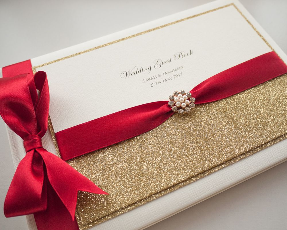 Luxury Personalised Wedding Guest Book - Glitter Ribbon Sparkle Crystal