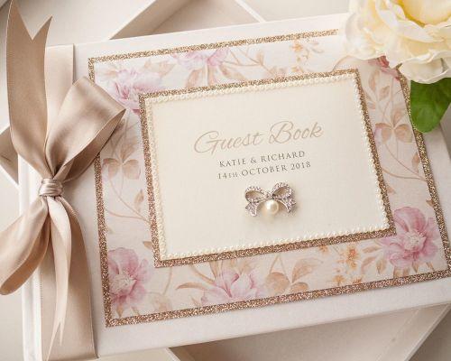 Guest Book - Floral Glitter