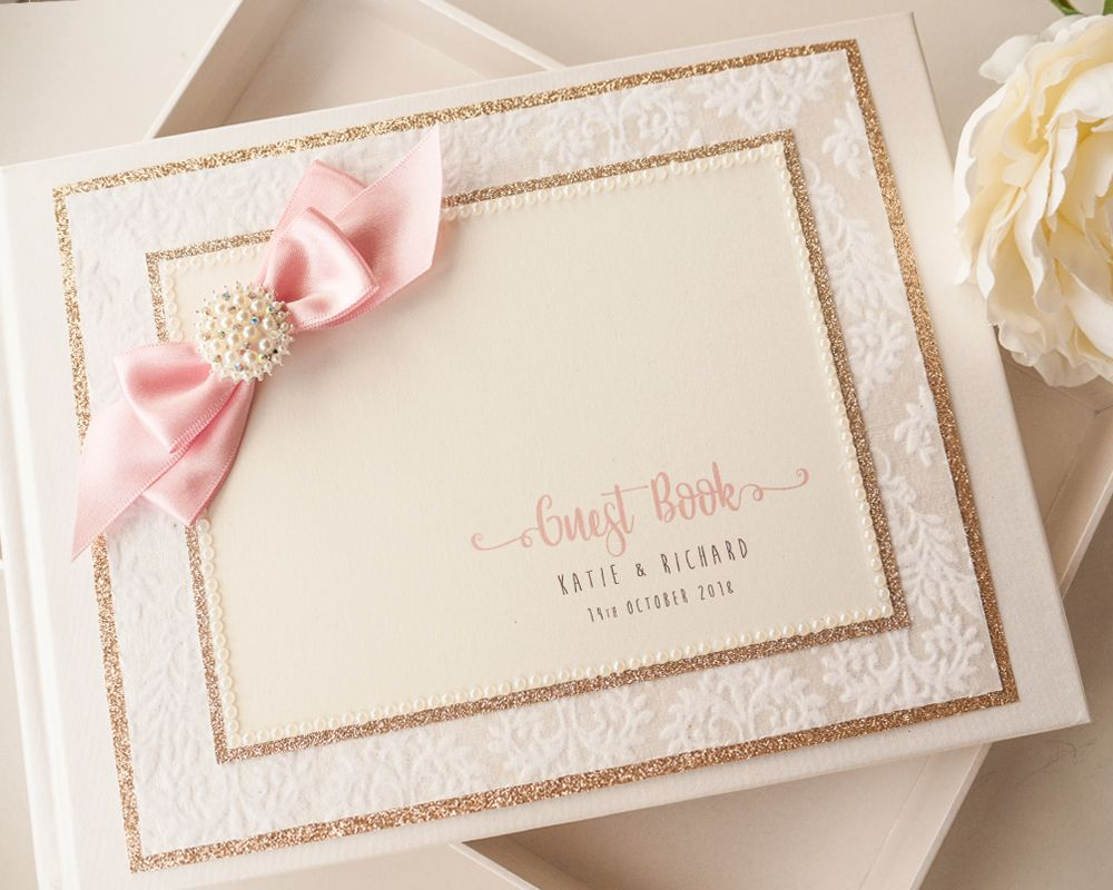 Luxury Personalised Wedding Guest Book - Flock Glitter