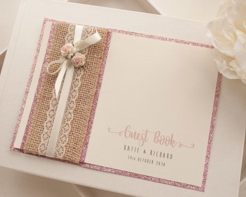 Luxury Personalised Wedding Guest Book - Hessian Glitter