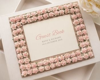 Luxury Personalised Wedding Guest Book - Rose Border