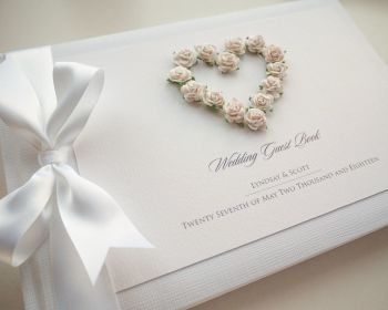 Luxury Personalised Wedding Guest Book - Romance White