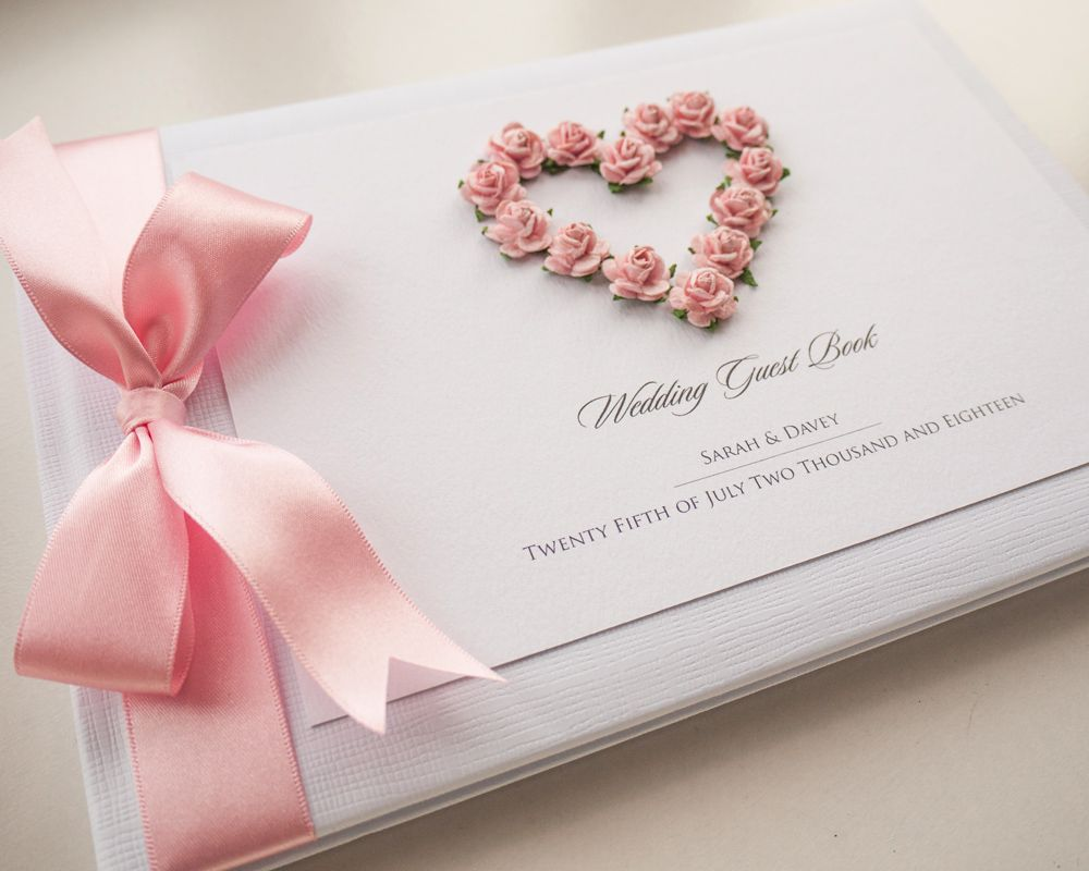 Luxury Personalised Wedding Guest Book - Romance Blush Pink