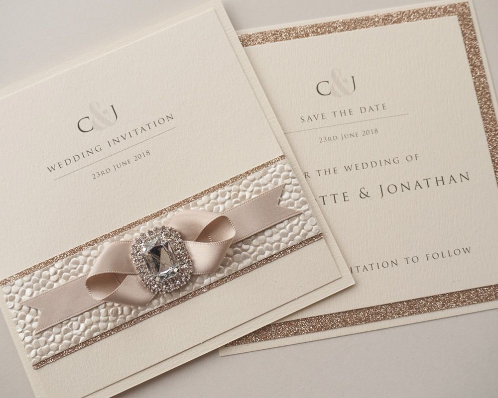 Champagne Wedding Invitation Save The Date
