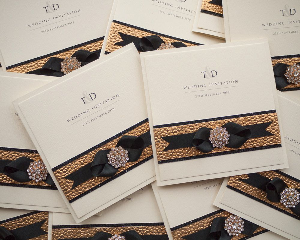 Black Gold Wedding Invitations