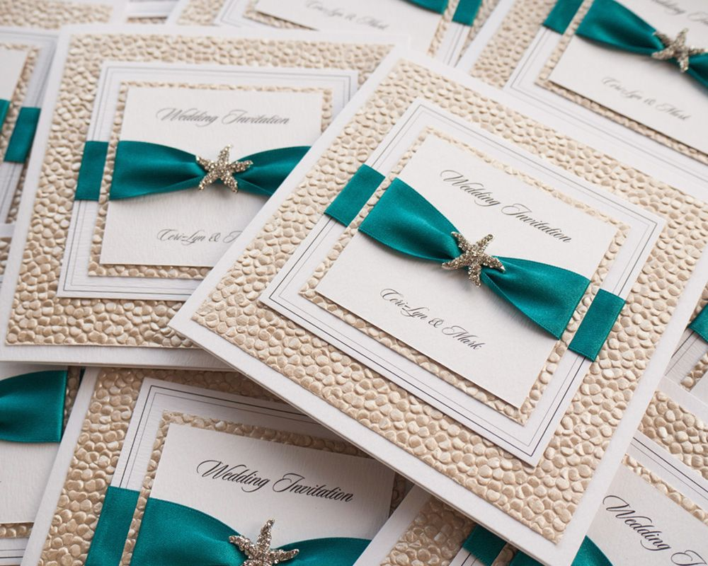 Teal Destination Wedding Invitations