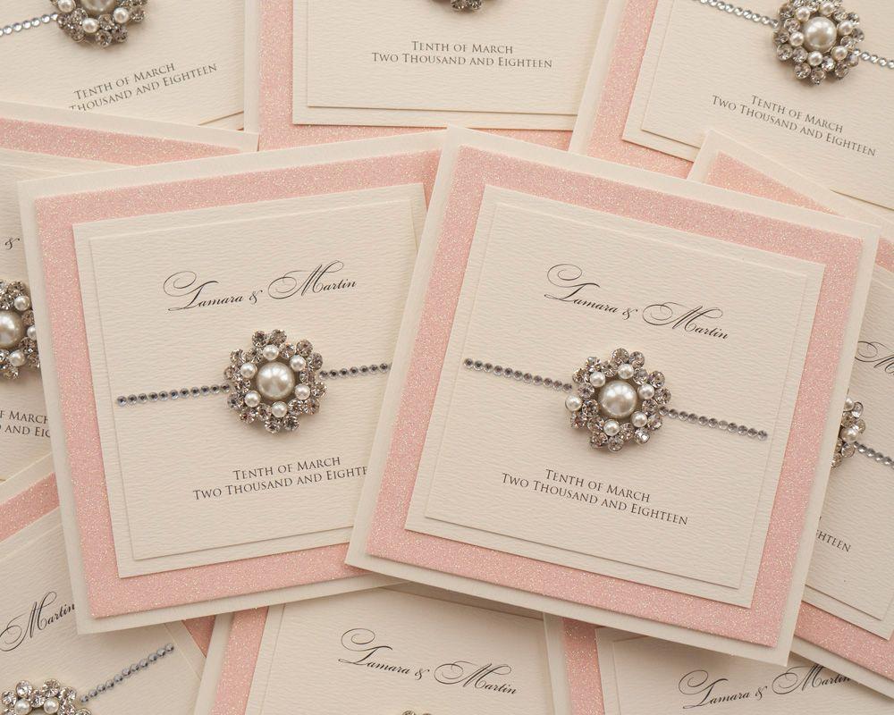 Blush Pink Glitter Wedding Invitations