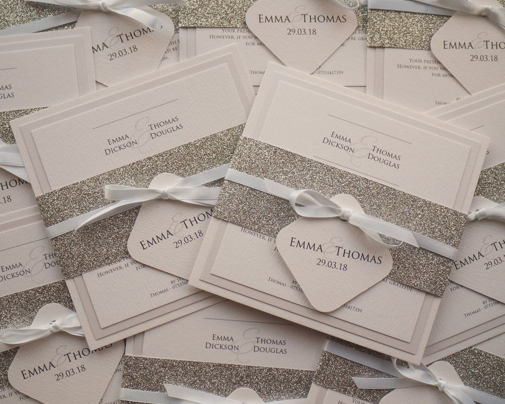 Glitter Belly Band Wedding Invitations
