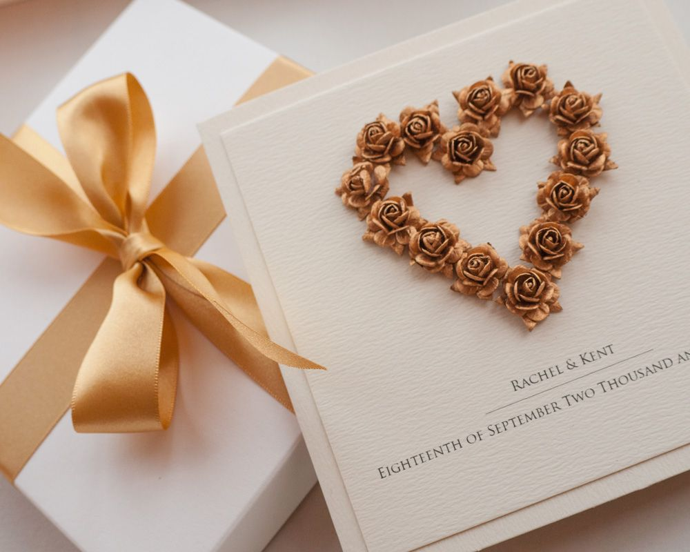 Gold Boxed Wedding Invitations