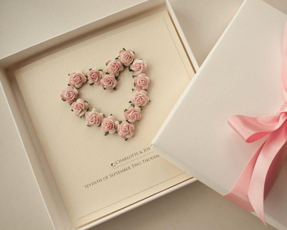 Boxed Floral Blush Pink Wedding Invitation