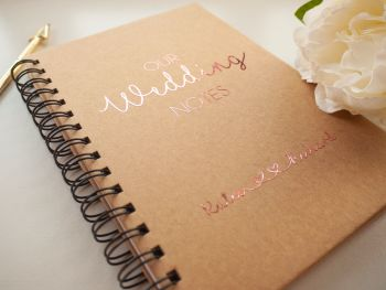 "Personalised ""Our Wedding Notes"" A5 Spiral Notebook"
