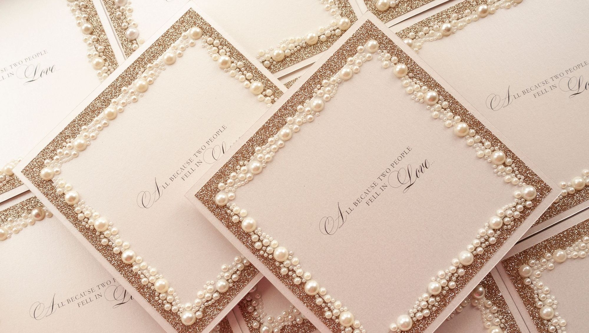 Pearl & Champagne Glitter Wedding Invitations