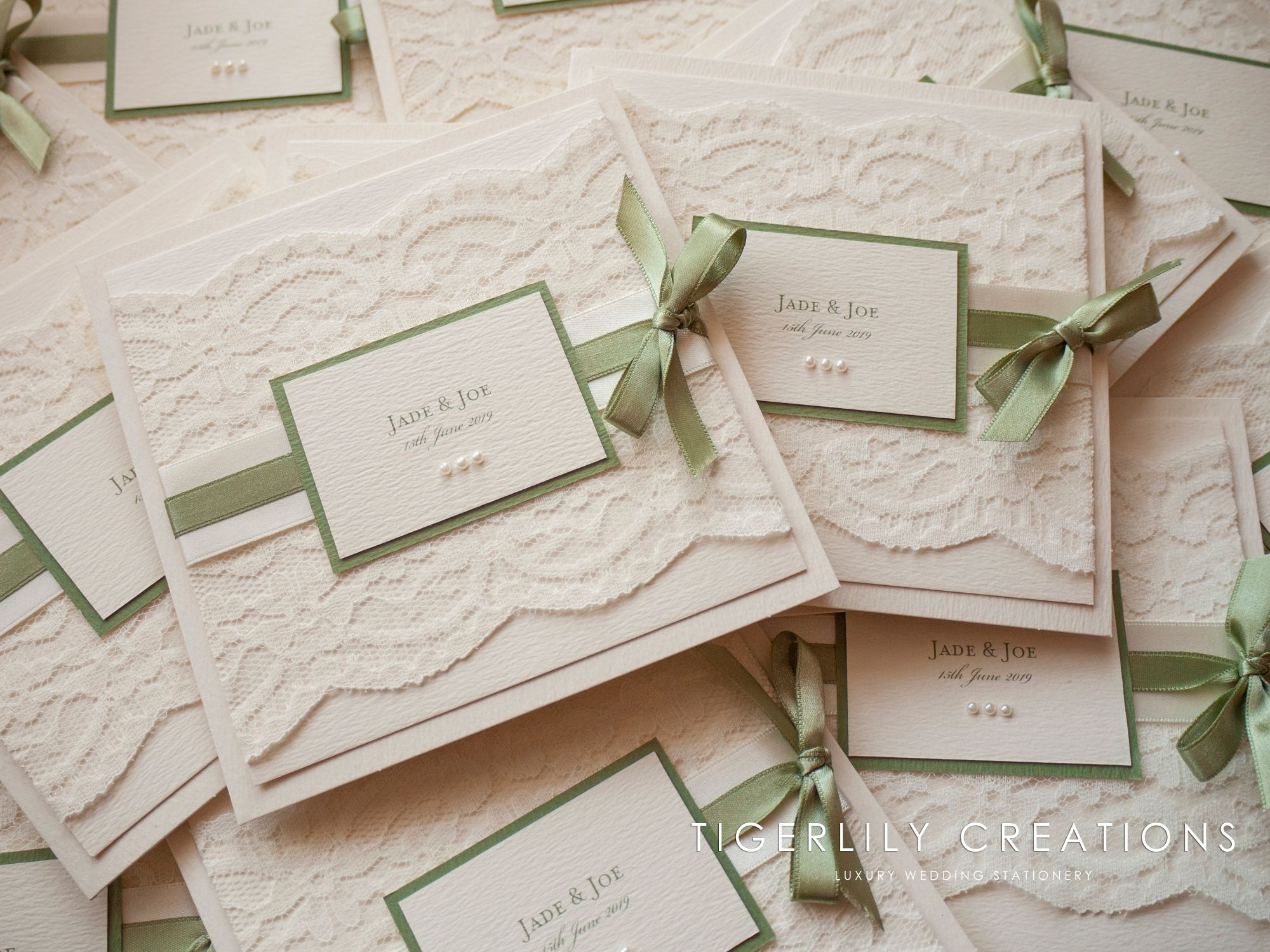 Sage Green & Ivory Lace Wedding Invitations
