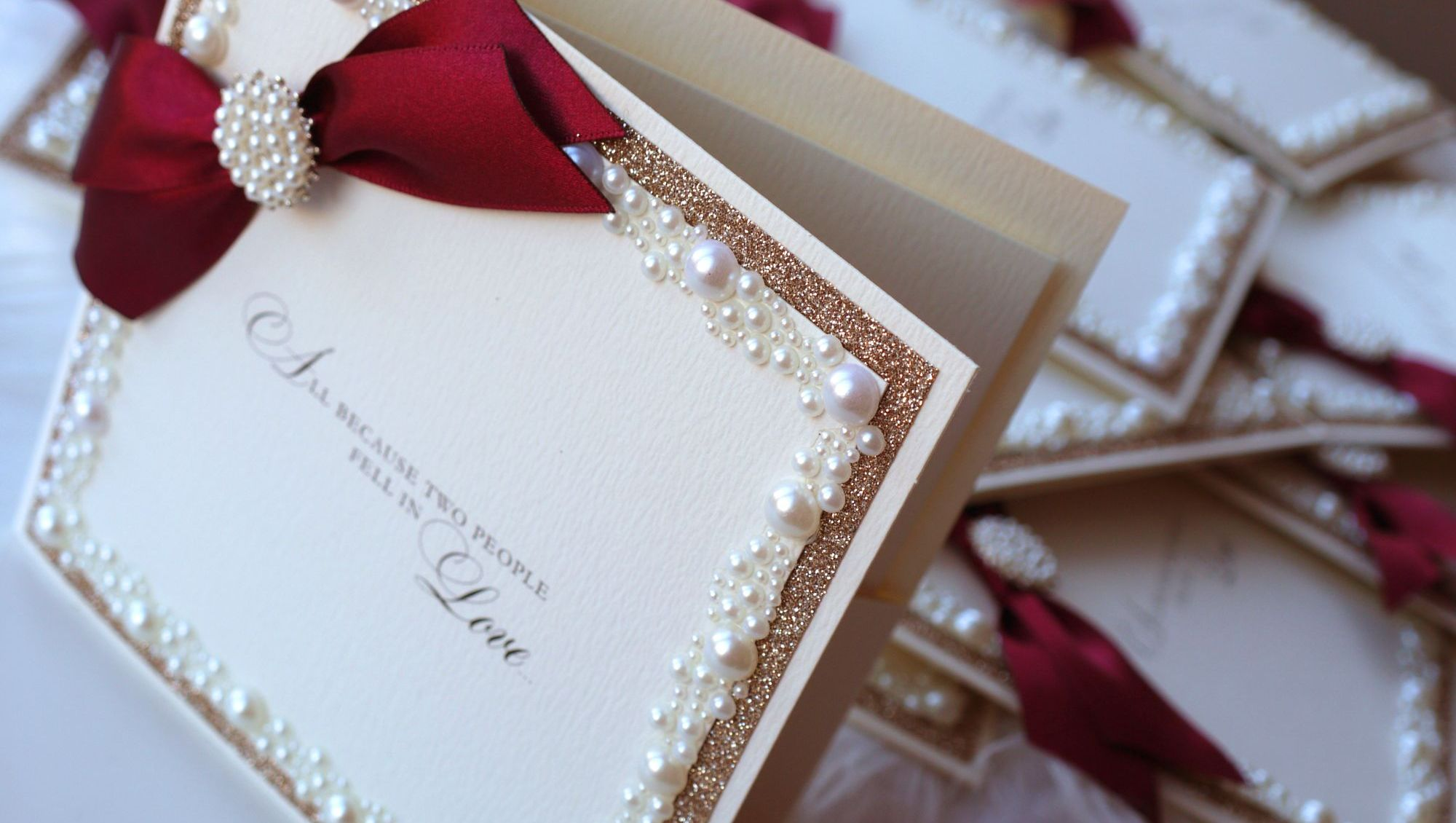 Pearl & Burgundy Wedding Invitations