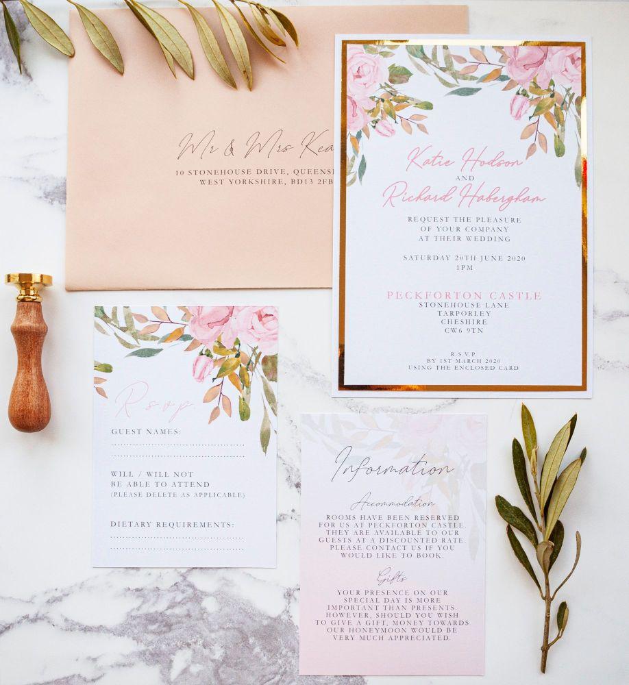 Peckforton Sample Wedding Invitation