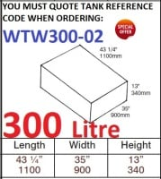 <!--300-->300 LITRE Water Tank & Loose Hatch WTW300-02