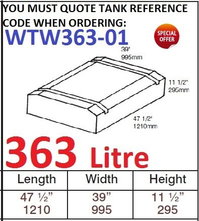 <!--363-->363 LITRE Water Tank & Loose Hatch WTW363-01
